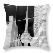 Cn Tower Reflected Throw Pillow