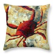 Coastal Crab Decorative Painting Original Art Coastal Luxe Crab By Madart Throw Pillow
