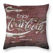 Coca Cola Pink Grunge Sign Throw Pillow