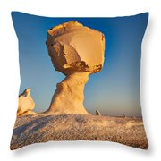 Cock And Mushroom Formation In White Desert Throw Pillow