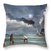Cockle Picking At Whitby Throw Pillow