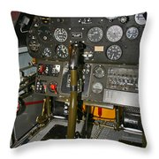 Cockpit Of A P-40e Warhawk Throw Pillow