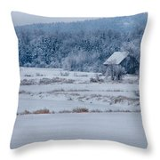 Cold Blue Snow Throw Pillow