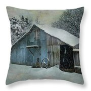 Cold Day On The Farm Throw Pillow