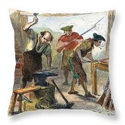 Colonial Blacksmith, 1776 Throw Pillow