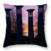 Colonnade In A Park At Sunset, 95 Bell Throw Pillow