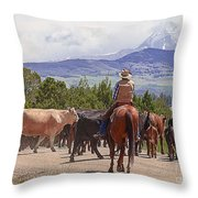 Colorado Cowboy Cattle Drive Throw Pillow
