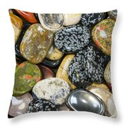 Colored Polished Rocks Throw Pillow