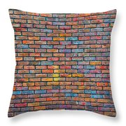 Colorful Brick Wall Texture Throw Pillow