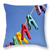 Colorful Clothes Pins Throw Pillow