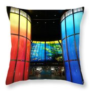 Colorful Glass Work Ceiling And Columns Throw Pillow