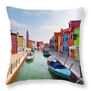 Colorful Houses And Canal On Burano Island Near Venice Italy Throw Pillow