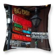 Colorful Neon Sign On Bourbon Street Corner French Quarter New Orleans Poster Edges Digital Art Throw Pillow
