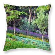 Colorful Park With Flowers Throw Pillow