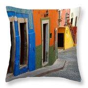 Colorful Street, Mexico Throw Pillow