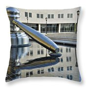 Columbus Ohio Justice Center Throw Pillow by Frozen in Time Fine Art Photography