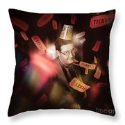 Comedy Entertainment Man On Theater Stage Throw Pillow