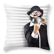 Comic Business Man Holding Big Service Bell Throw Pillow