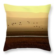 Common Cranes At Gallocanta Lagoon Throw Pillow