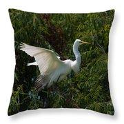 Common Egret Throw Pillow