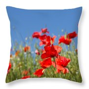 Common Poppy Flowers Throw Pillow