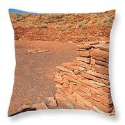 Community Room At Wupatki Pueblo In Wupatki National Monument Throw Pillow