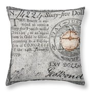 Continental Currency, 1779 Throw Pillow