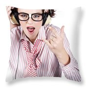 Cool Music Nerd Rocking Out To Metal On Headphones Throw Pillow