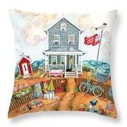 Corgie Street Cottage Throw Pillow