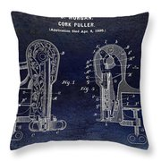 Cork Puller Patent 1899 Throw Pillow