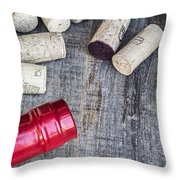 Corks With Bottle Throw Pillow