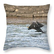Cormorant Water Takeoff Throw Pillow