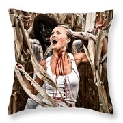Corn Field Horror Throw Pillow