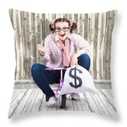 Corrupt Business Thief In A Smart Stealing Scam Throw Pillow