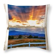 Country Beams Of Light Barn Picture Window Portrait View  Throw Pillow