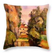 Country House By A River Throw Pillow