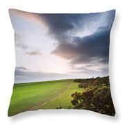 Countryside Landscape Path Leading Through Fields Towards Dramat Throw Pillow