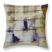 Couple Of Pigeons On A Wall Throw Pillow