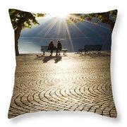 Couple On A Bench Throw Pillow
