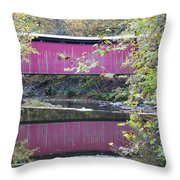 Covered Bridge Along The Wissahickon Creek Throw Pillow