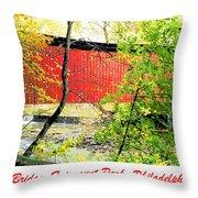 Covered Bridge In Autumn Fairmount Park Philadelphia Throw Pillow