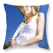 Cowgirl In Dress And Hat Throw Pillow