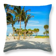 Crandon Park Beach Throw Pillow