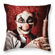 Crazy Medical Clown Holding Oversized Syringe Throw Pillow