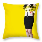 Creepy Homicide Girl Standing Undead On Yellow Throw Pillow