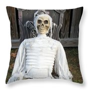 Creepy Skulled Mummy Throw Pillow