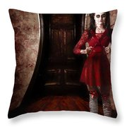 Creepy Woman With Bloody Scissors In Haunted House Throw Pillow