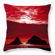 Crimson Sunset Throw Pillow