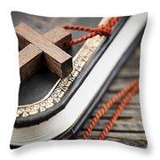 Cross On Bible Throw Pillow