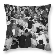Crowds In Ohrbach's Store Throw Pillow